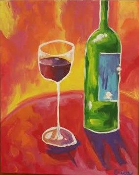 Abstract Wine Glass Happy Hour Event